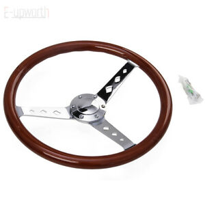 380mm 15inch Universal Classic Steering Wheel Wood 6 Hole New