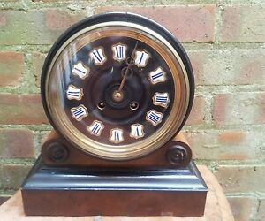 Antique 1880 S French Burr Walnut Barrel Style Count Wheel Clock