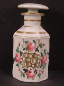1800 S French Porcelain Sevres Hand Painted Flower Gilt Old Paris Perfume Bottle