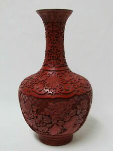 Fine Old Chinese Carved Peony Flower Design Red Cinnabar Lacquer Vase