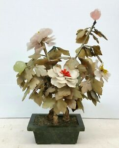 Vtg Chinese Jade And Hardstone Flowering Tree Rose Quartz Agate Bowenite 17