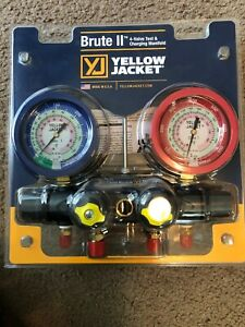 Yellow Jacket 46011 Brute Ii 4 valve Manifold Only Liquid Gauges Psi R 22 410a