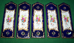 5 Antique Sevres Porcelain Door Push Plates Hand Painted French 1800 S