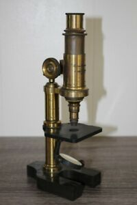 Antique Hartnack Prazmowski Brass Metal Microscope In Dovetailed Wooden Case