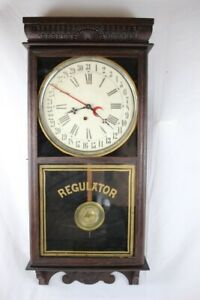 Antique Ingraham Wall Regulator Calendar Clock