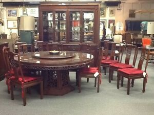 Vintage Rosewood Chinese Dining Room With China Cabinet Table And 12 Chairs