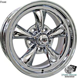 15x7 15x8 Chrome New Rev Classic 100 Wheels Rims For Ford Thunderbird 1970 1971