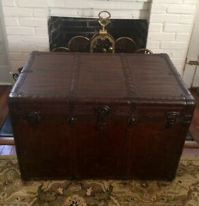 Antique Original Steamer Trunk Genuine Full Leather Luggage Chest Table Display