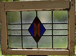 Antique Leaded English Stained Glass Window Wood Frame England Old House 33