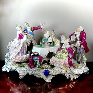 German Sitzendorf Dresden Lace Large Porcelain Figurine Champagne Toast Tableau