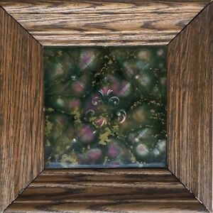 Framed American Encaustic Lattice Impressionistic Floral Ceramic Art Tile