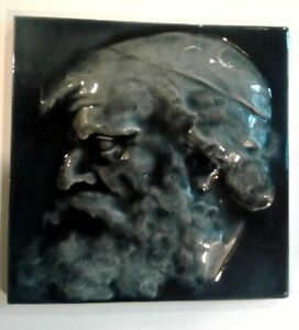 J G J F Low Antique Victorian Relief Ceramic Art Tile Old Man In Cap