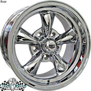 4 15x8 Chrome New Rev Classic 100 Wheels Rims For Chevy Impala 1966