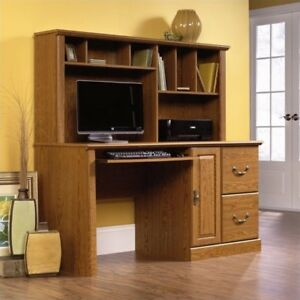 Computer Desk Hutch Drawers Credenza Wood Oak Finish Home Office Furniture Shelf