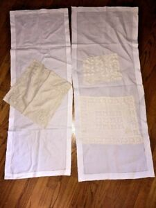Vintage Antique Table Cloths Linens Doilies Runners Dresser Vanity Set Lot Of 5