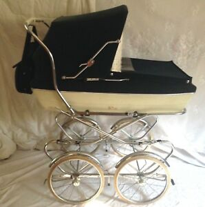 Vintage Giuseppe Perego Baby Buggy Stroller Carriage Pram Navy Made In Italy