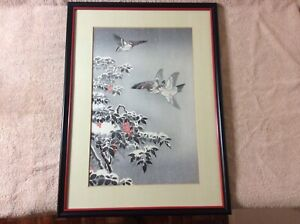 Vintage Tsuchiya Koitsu Japanese Wood Block Print Nandin Sparrows In The Snow