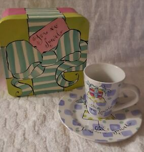 Rosanna Vintage Cup Saucer In Matching Gift Box Display Sample