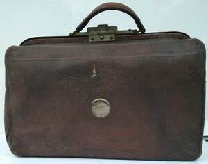 Antique Doctor Vintage Leather Bag Or Medical Case Satchel Or Travel Bag