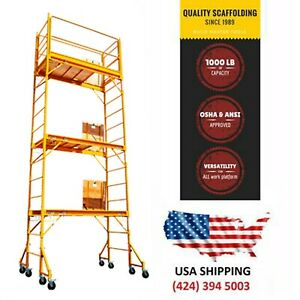 18 Ft Baker Style Scaffold W guard Rail outriggers Painting Drywall Scaffolding