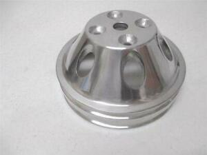 Polished Aluminum Small Block Mopar Dodge Double Groove Upper Water Pump Pulley