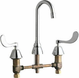 Commercial Widespred Faucet Utility Mop Sink Gooseneck Chrome Brass Heavy Duty