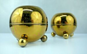 Pair Vtg Gold Tone Pilcher Mid Century Mod Atomic Space Age Orb Candle Holders