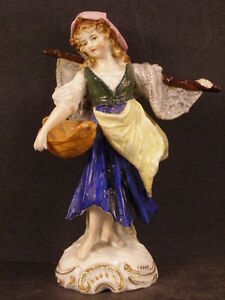 Antique German Porcelain Figure Figurine Woman A J Uffrecht Fishing Dresden