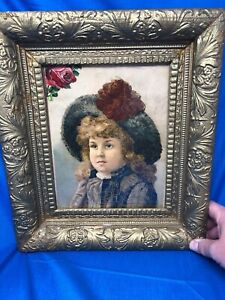 Beautiful Ornate Large Antique Victorian Oak Gold Gilt Frame With Scottish Girl