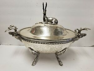 Heavy Detailed Silver Stag Soup Tureen Server Serving Piece Deer Plated India