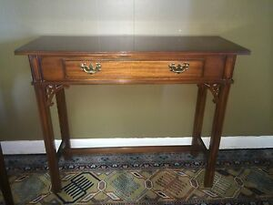 Banded Inlaid Councill Craftsmen Chippendale Foyer Hall Table Sofa Table