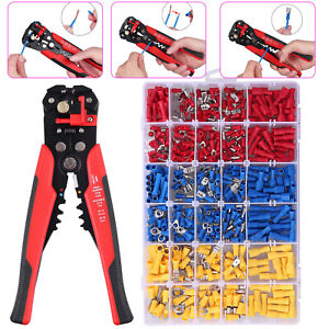 Automatic Wire Striper Cutter Stripper Crimper Pliers 500pcs Crimp Connectors
