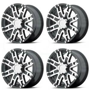 17x8 Gloss Black Machine Wheels Helo He835 8x170 0 Set Of 4