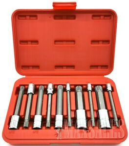 10pc Long Spline Xzn Triple Square Socket Bit Set 1 4 3 8 1 2 Tamper Proof