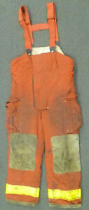 36x30 Globe Red Pants With Suspenders Firefighter Turnout Bunker Fire Gear P962