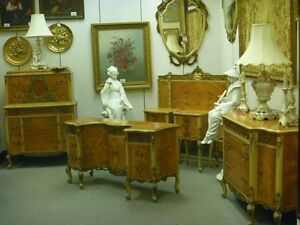 1930 S French Style 9 Pc Satinwood Bedroom Suite With Gesso Decoration