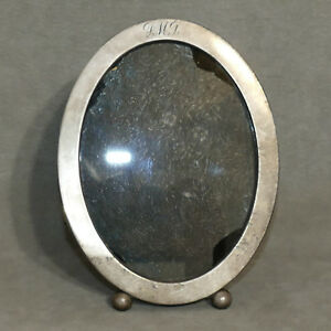 Frame Photo Picture Sterling Silver Oval Monogram Rmd Patina 6 1 4 Ball Feet