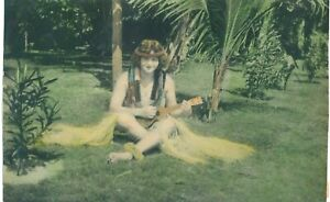 7x10 Hand Colored Vintage Photo Girl In Hawaiian Grass Skirt Playing Ukelele
