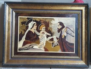 Vintage Wood Inlay Marquetry Wall Art Picture Baby Jesus Mary Joseph