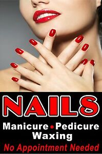 Nails Manicure Pedicure Waxing 24x36 Advertising Business Poster Sign