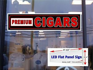 Quality Cigars Led 48x12 Flat Panel Light Box Window Sign All Metal Construction