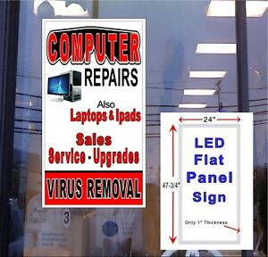 Computer Repair Sales Service Upgrades Led Light Box Window Sign 48x24