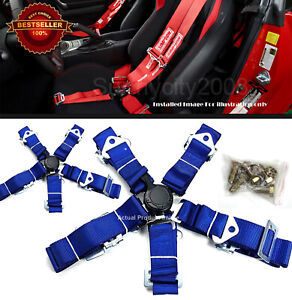 2 X 5 point Cam Lock Quick Release Blue Nylon Harness Seat Belt For Toyota Scion