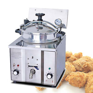 New 2400w 16l Commercial Electric Countertop Pressure Fryer Stainless Chicken