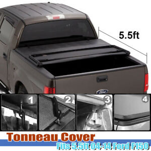 Fit 2004 2014 Ford F 150 5 5ft Fleetside Truck Bed Soft Tri Fold Tonneau Cover