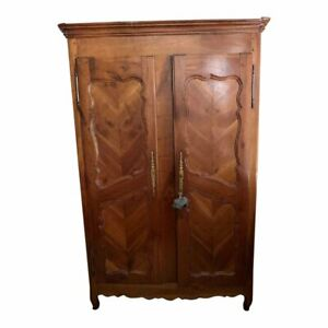Large Walnut Antique French Two Door Armoire Louis Xv Style