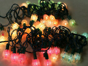 Rare Unique String 50 Mid Century Modern Atomic Space Age Christmas Light String