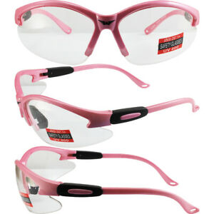 6 Pair Cougar Womens Safety Glasses Medium Pink Frame Shatterproof Clear Lens