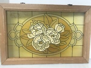 Painted Glass Panel Wood Framed Flower Blossoms Stained Glass 20 X 13 5