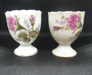 2 Vintage Beautiful Egg Cups Red Rose Pattern Made In Japan Japanese Porcelain